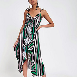 Green stripe slip cami midi dress