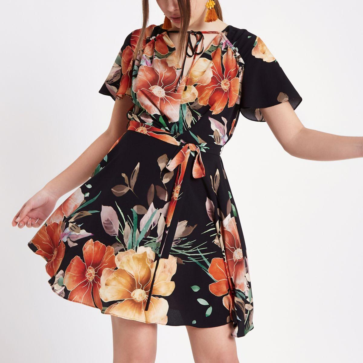 Black floral print tea dress