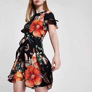 Black floral tie waist dress