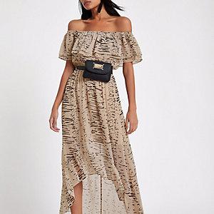 Cream stripe print bardot maxi dress