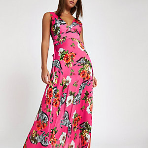 Pink zebra print halter maxi dress