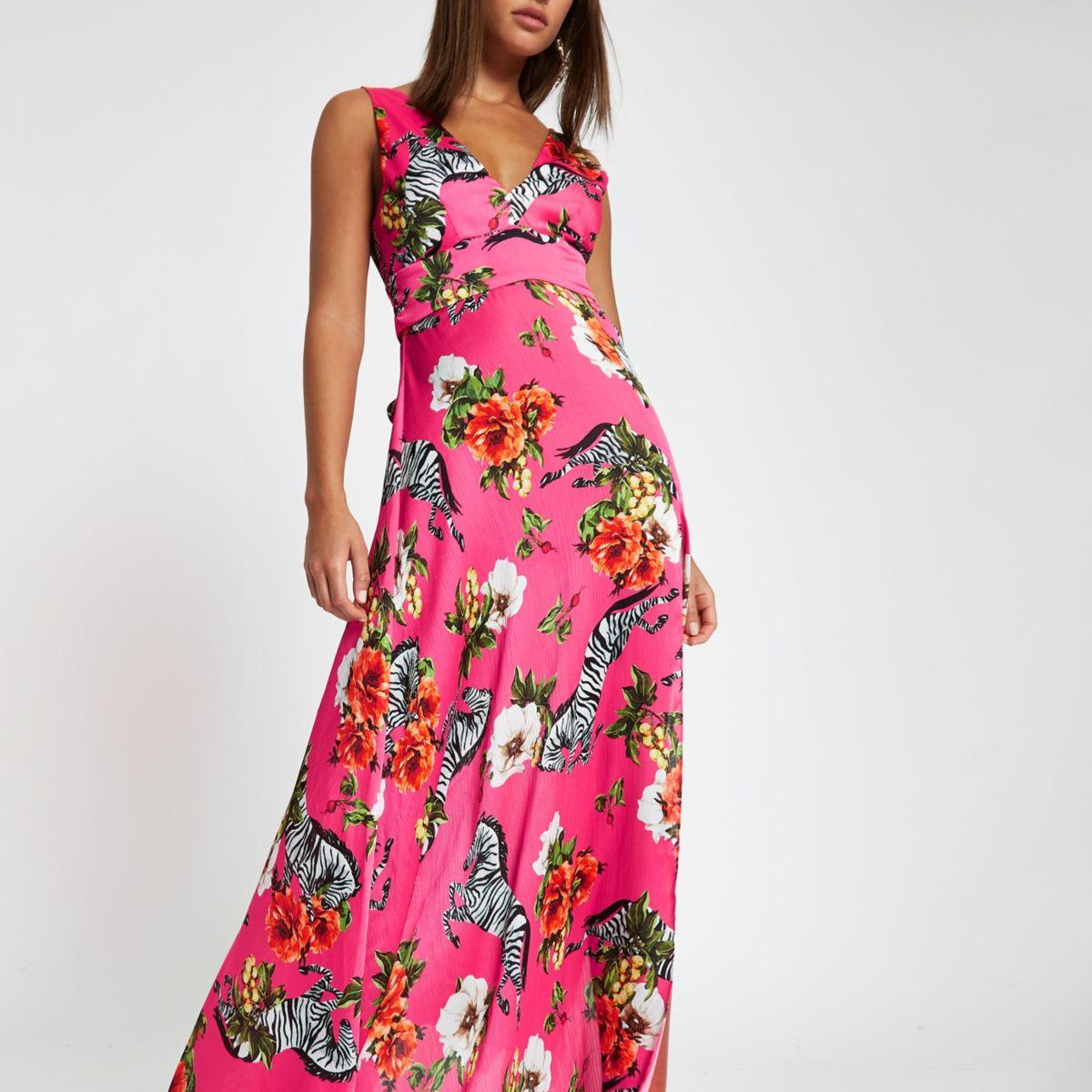 Pink zebra print halter maxi dress