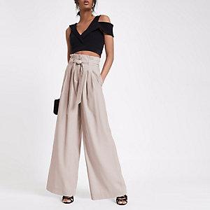 Pink paperbag waist wide leg pants