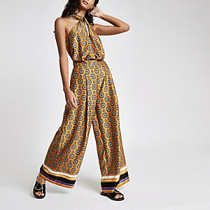 Orange mixed print wide leg pants