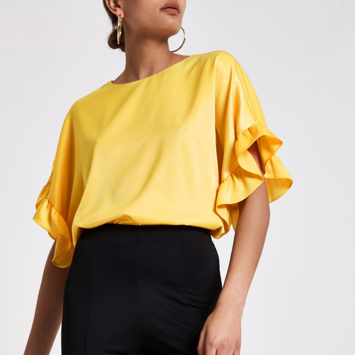 Yellow frill sleeve top