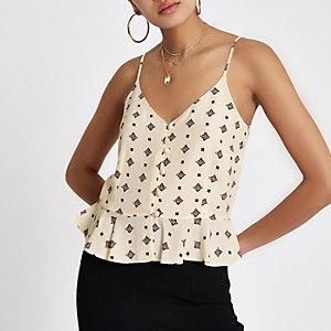 Cream tile print button front cami top