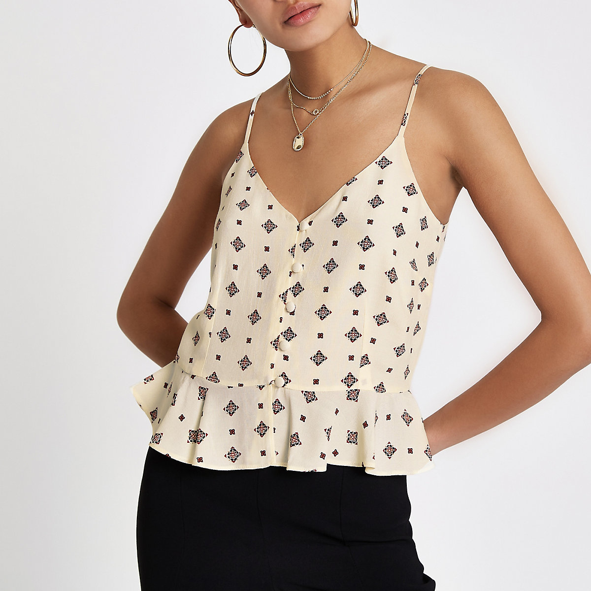 Cream tile print peplum button front cami top