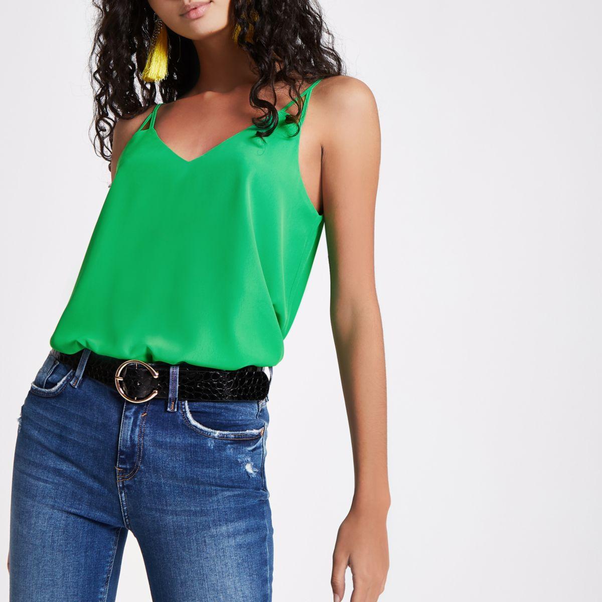 Green V neck cami vest top