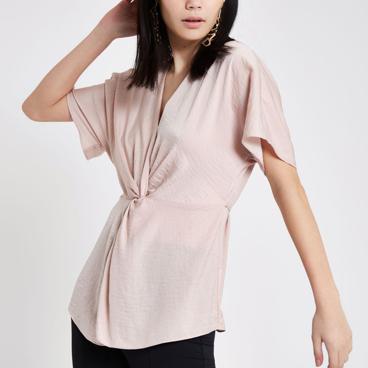 Pink satin knot front shirt