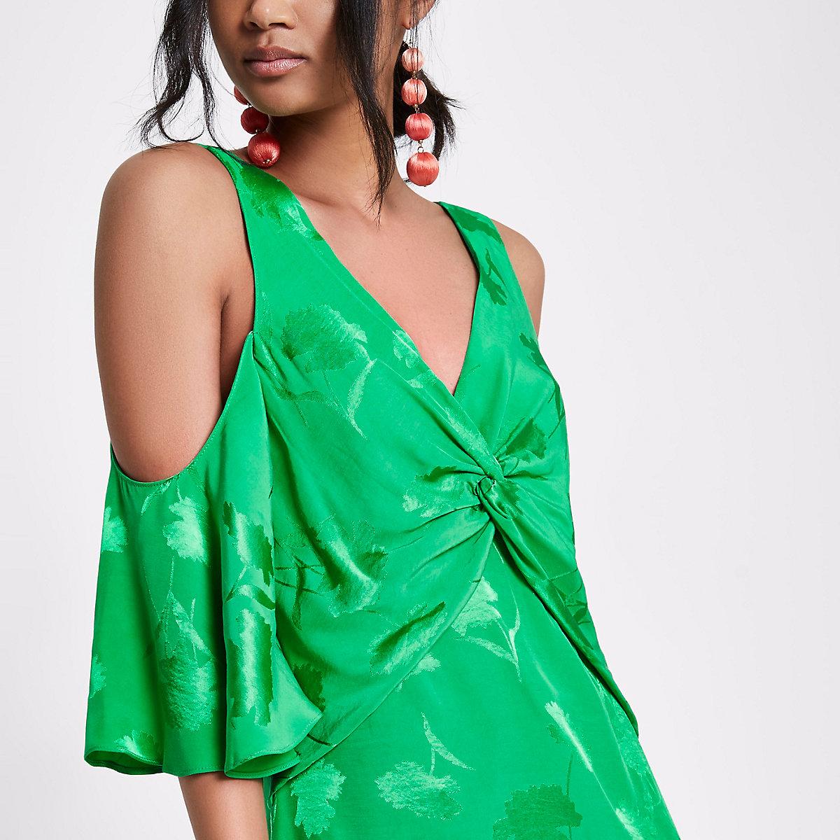 Green jacquard cold shoulder top
