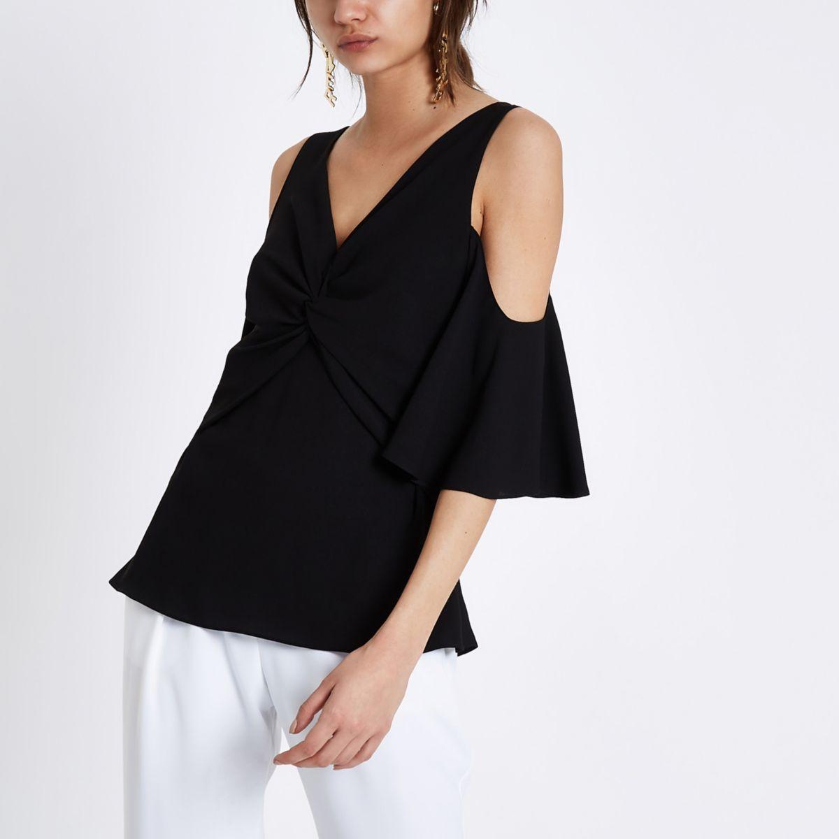 Black knot front cold shoulder blouse