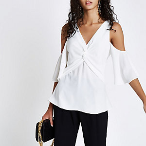 White knot front cold shoulder blouse