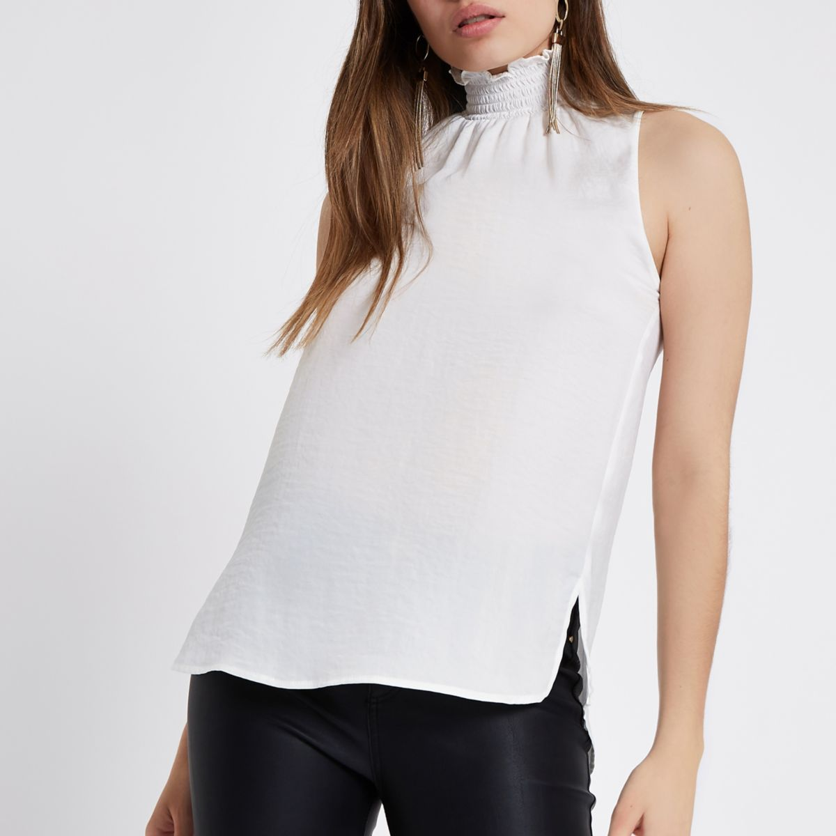 White shirred neck sleeveless top