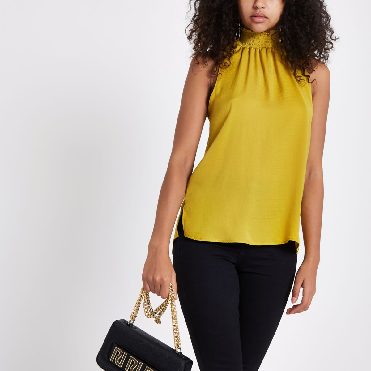Yellow shirred neck sleeveless top