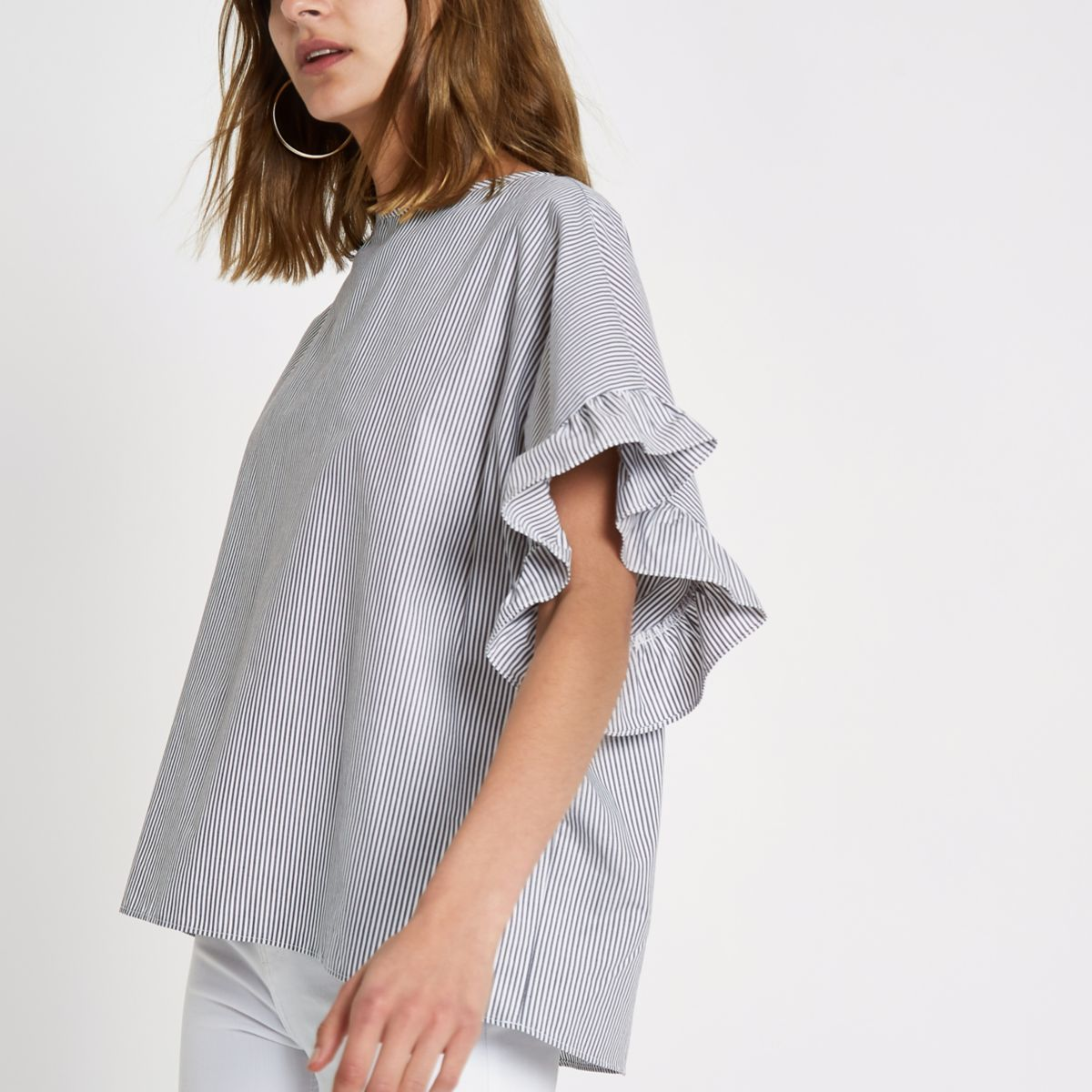 Grey stripe frill sleeve T-shirt