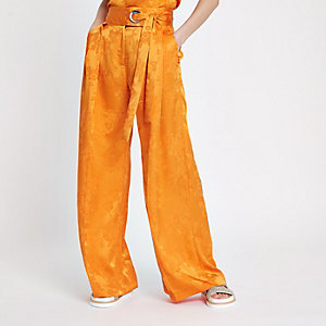 Orange jacquard wide leg pants