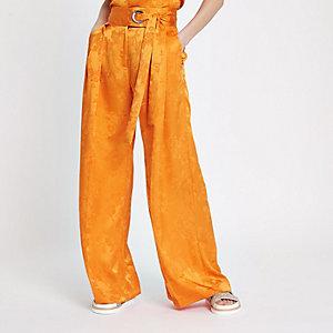 Oranje jacquard broek met wijde pijpen