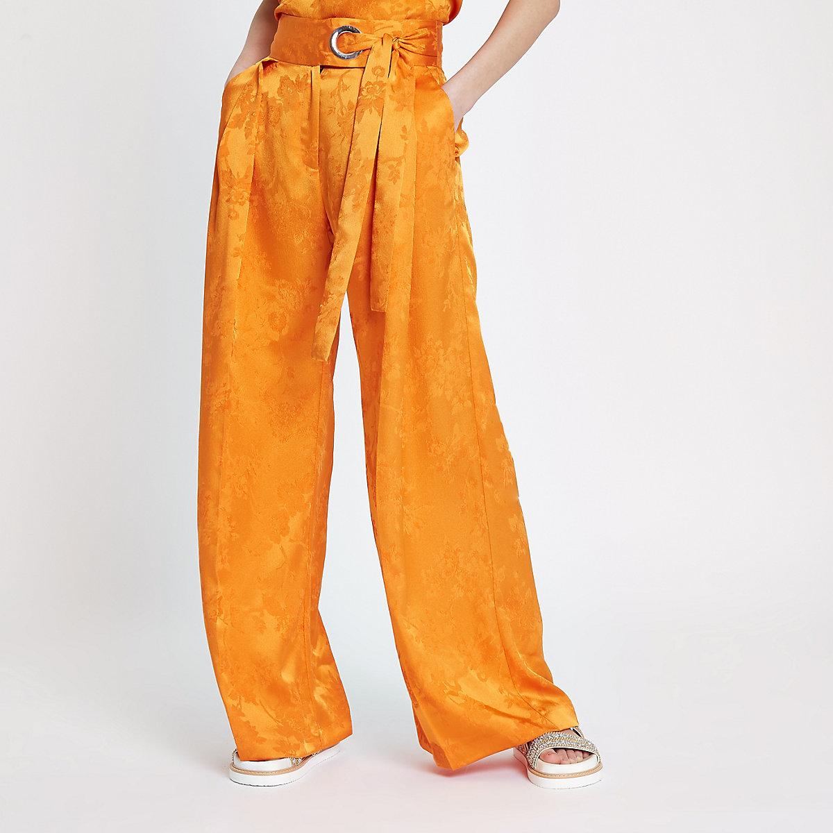 Orange jacquard wide leg pants