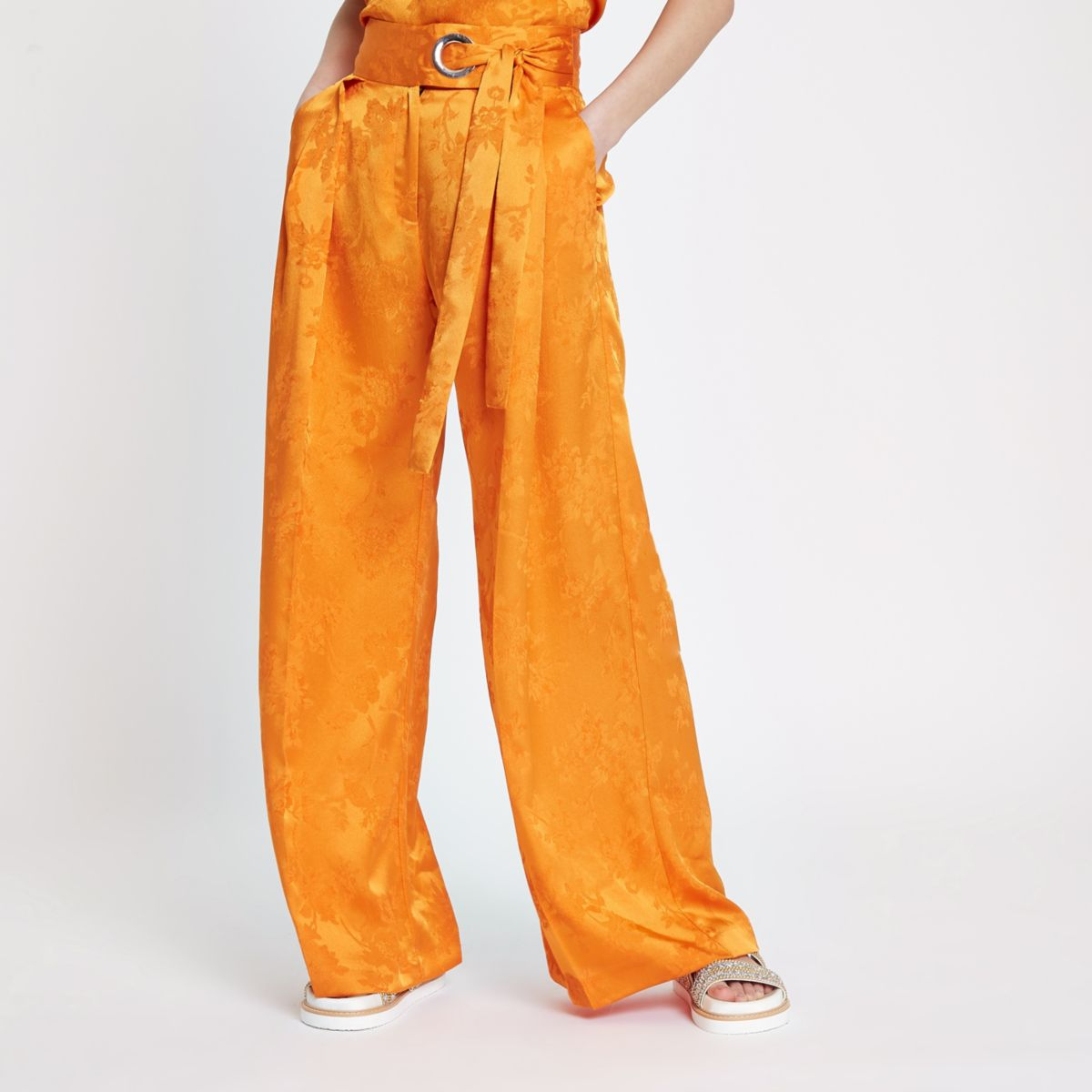 Orange jacquard wide leg trousers