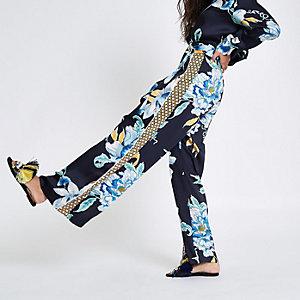 Pantalon large en satin à fleurs bleu marine