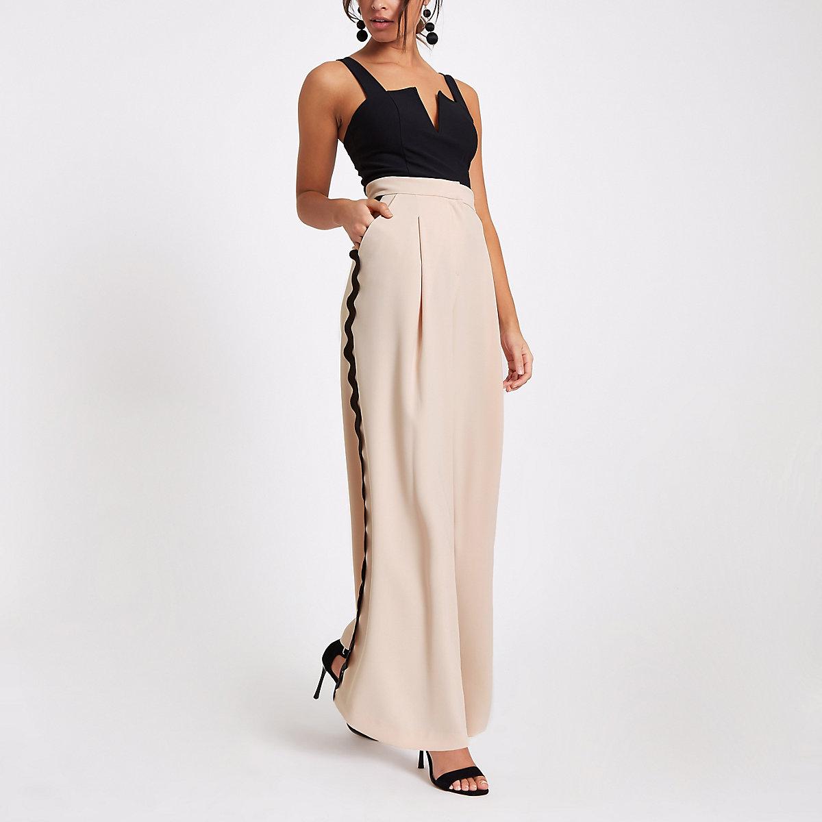 Light pink wide leg swirl print trousers