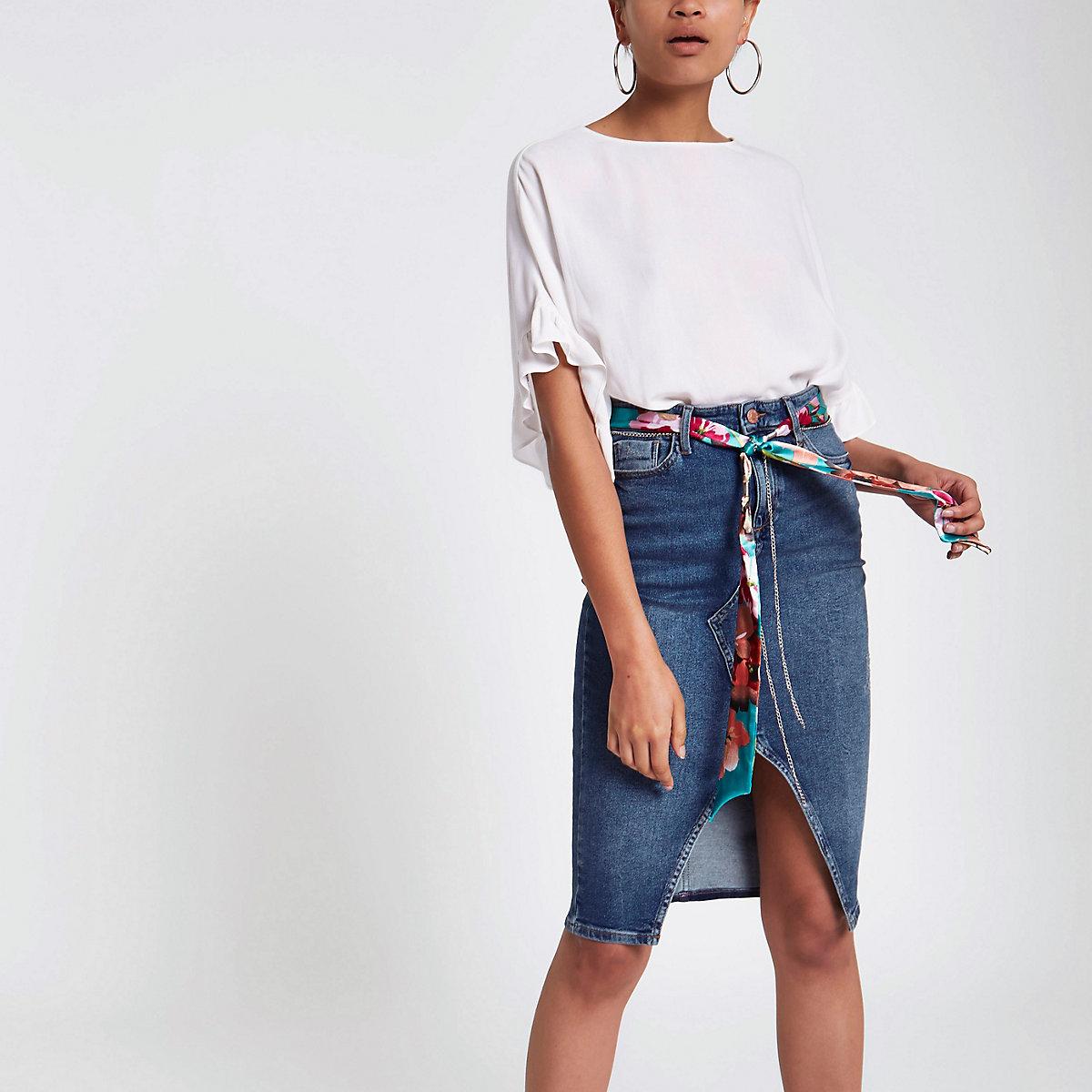 Mid blue denim belted pencil skirt
