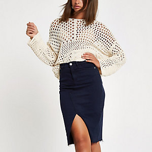 Navy split front denim pencil skirt