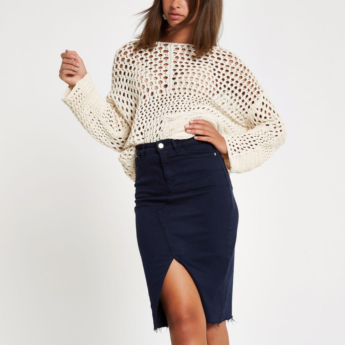 Navy split front denim pencil skirt