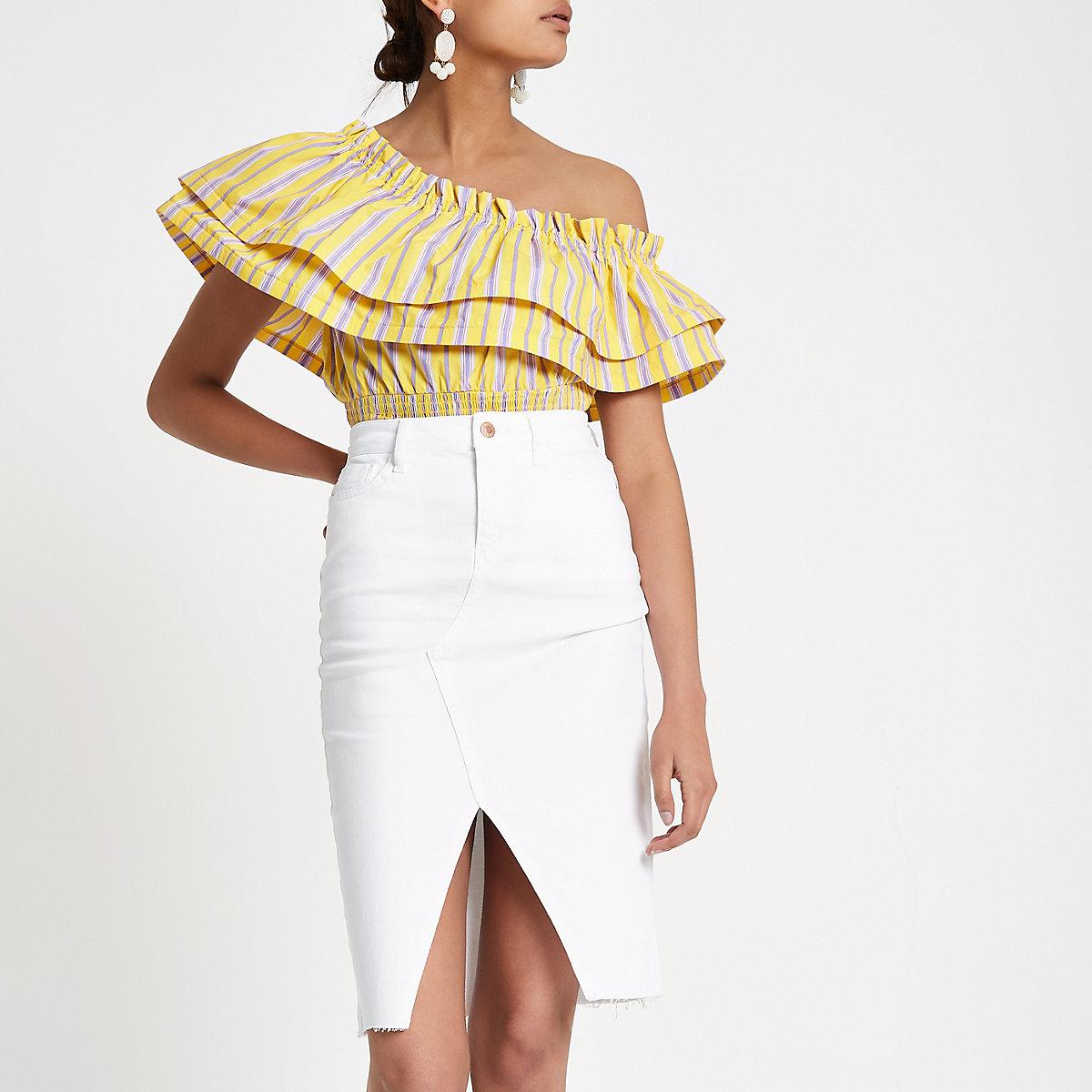 White split hem denim pencil skirt