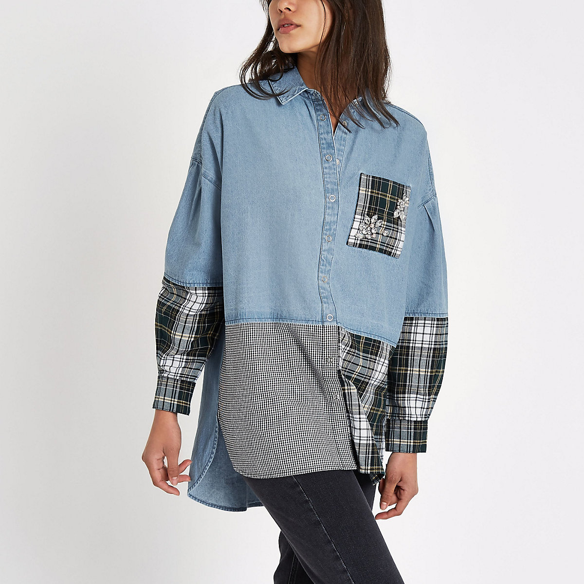 Blue check rhinestone patchwork denim shirt
