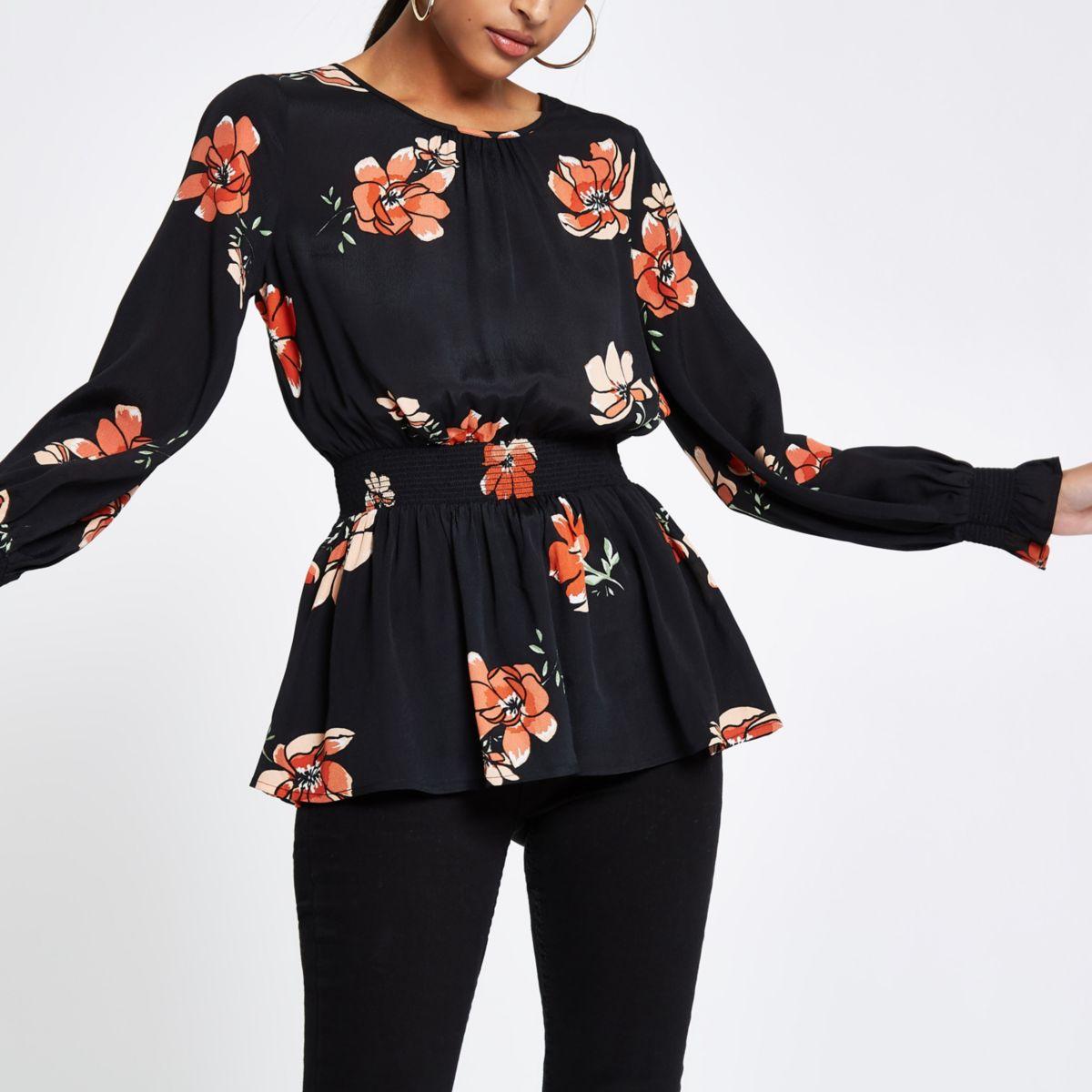 Black floral shirred waist blouse