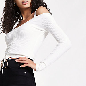 Cream ruched front fitted bardot knit top