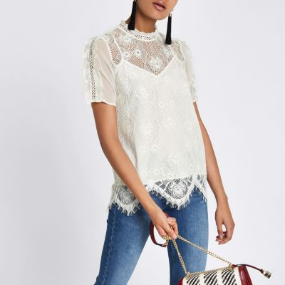 River Island White Lace Top