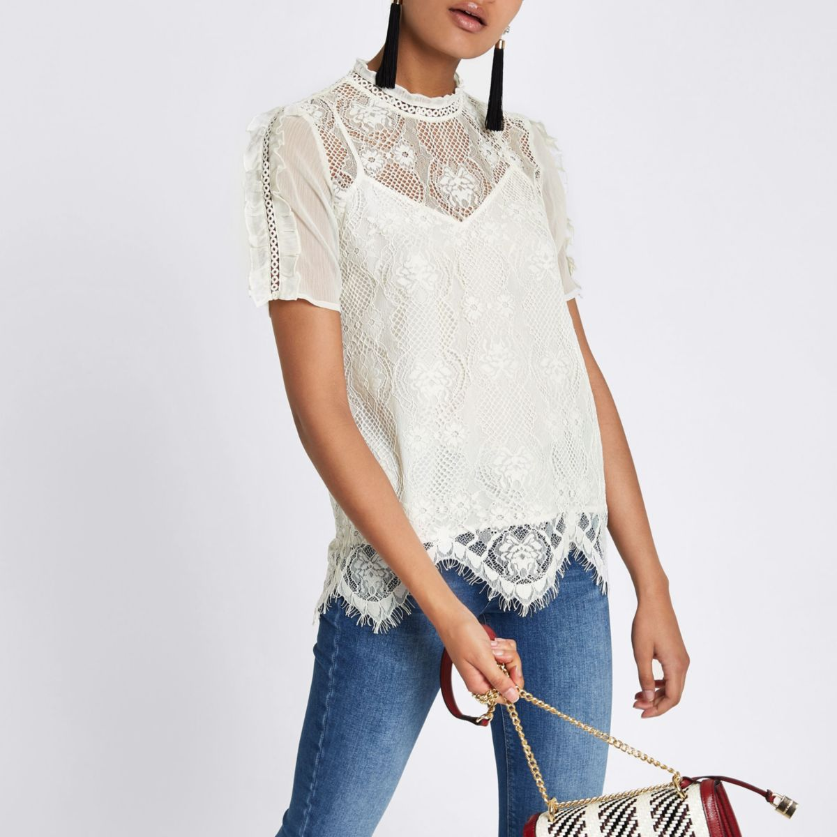 White lace beaded high neck top