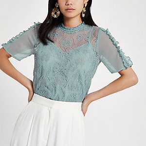 Light blue lace short sleeve top