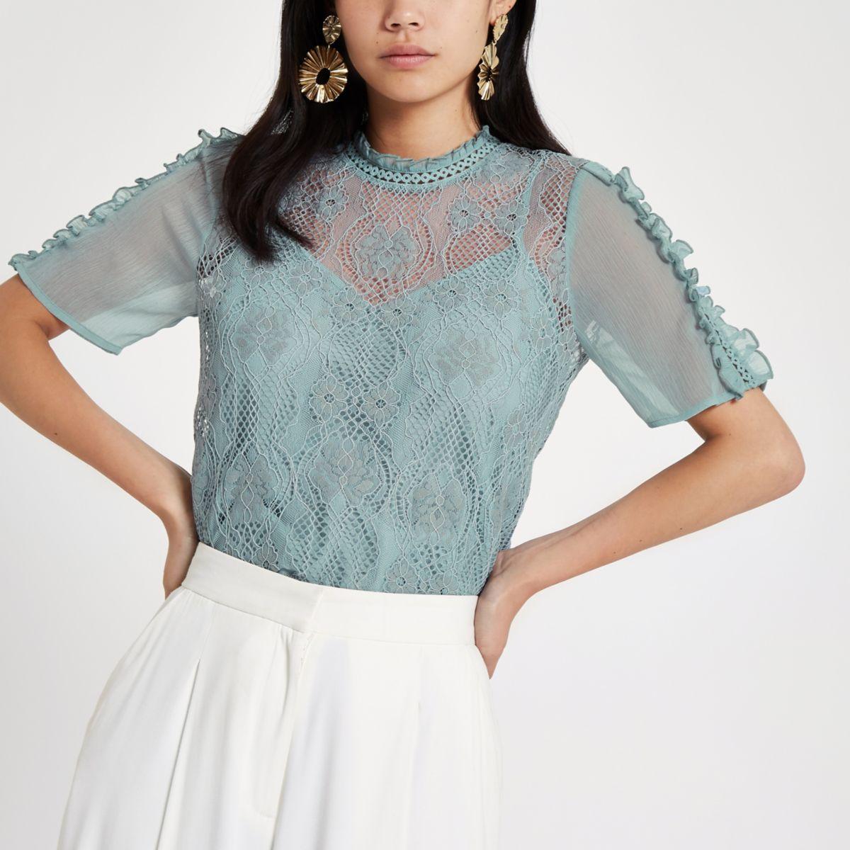 Light blue lace short sleeve top