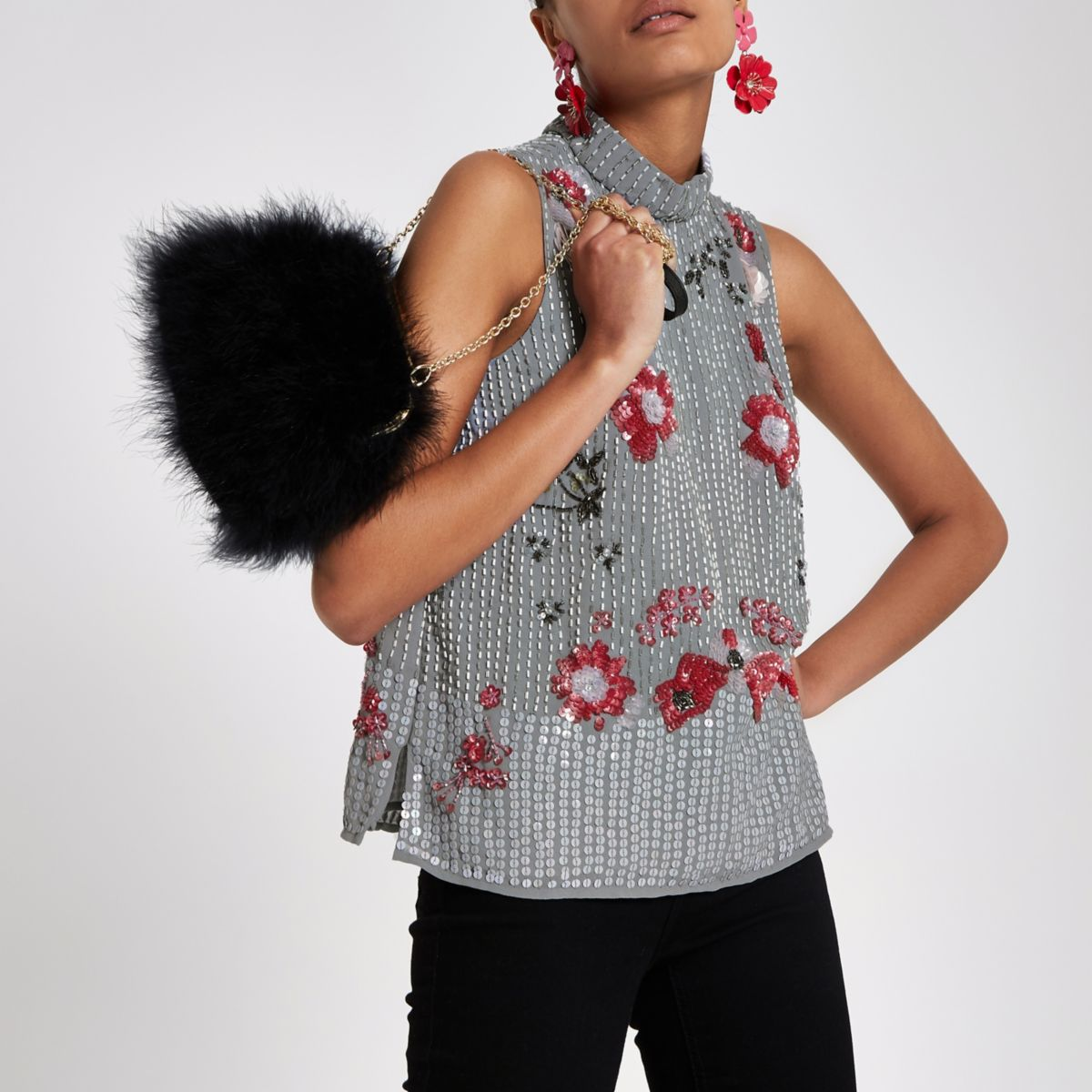 Grey floral sequin embellished top