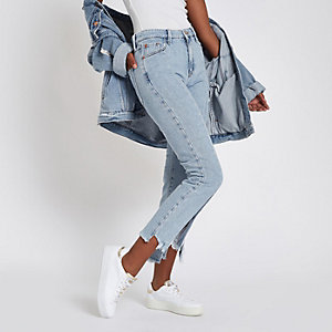 Light blue split hem cropped flare jeans