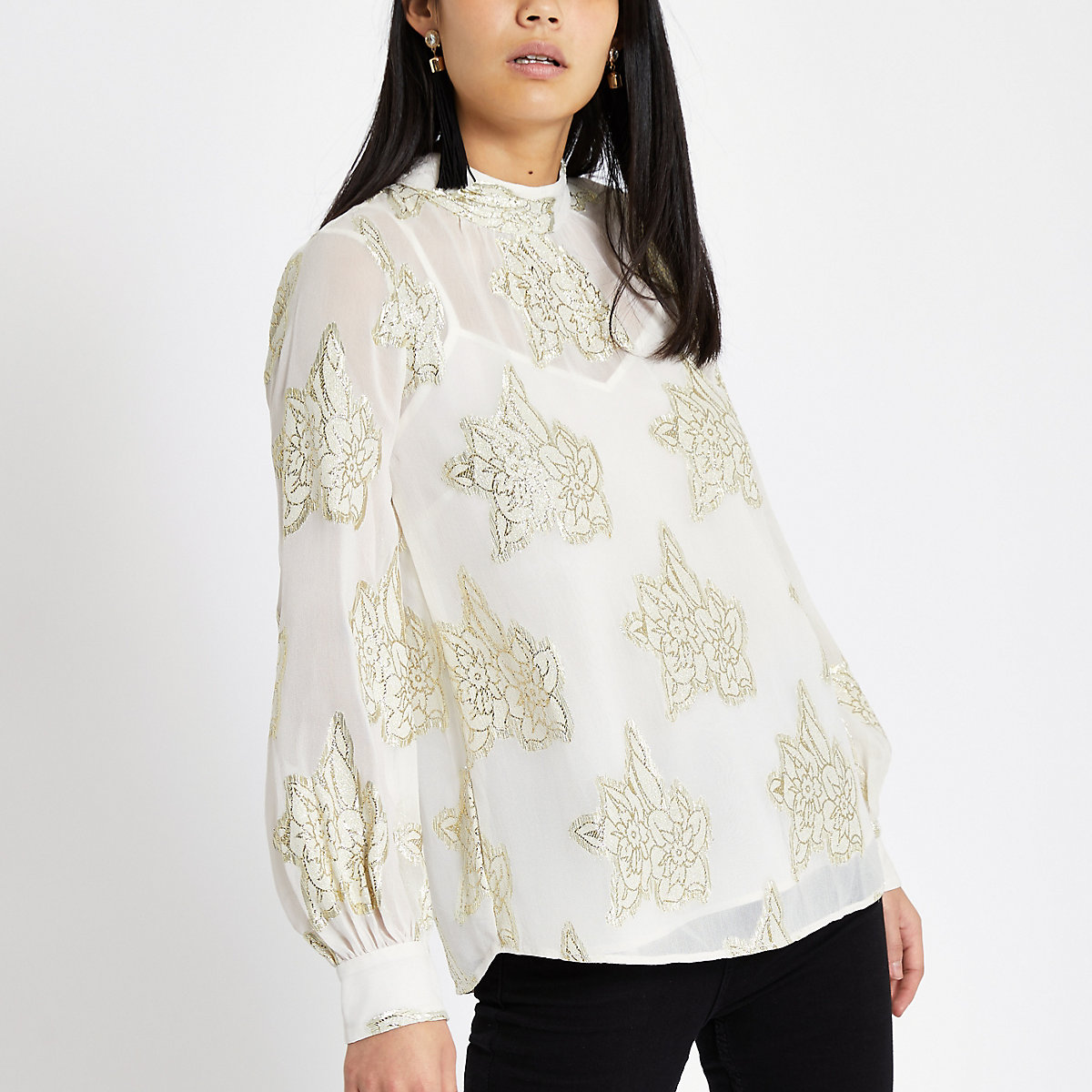 White floral jacquard tie front top