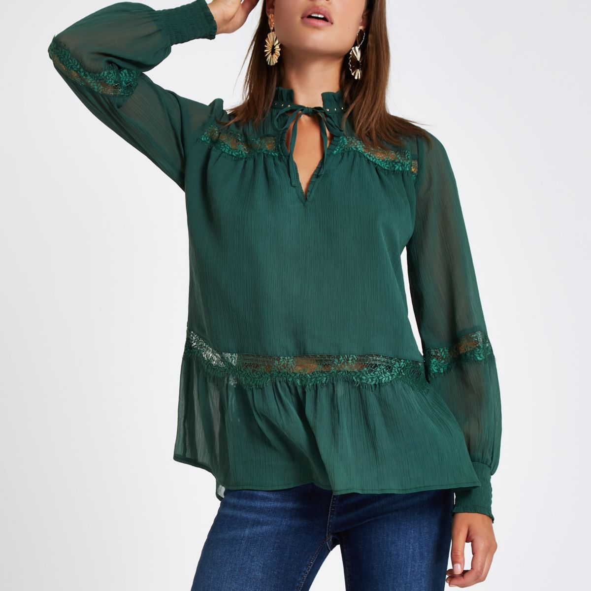 Green stud lace trim blouse