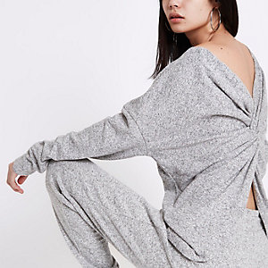 Grey twist back jumper
