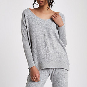 Grey V neck loose fit jumper