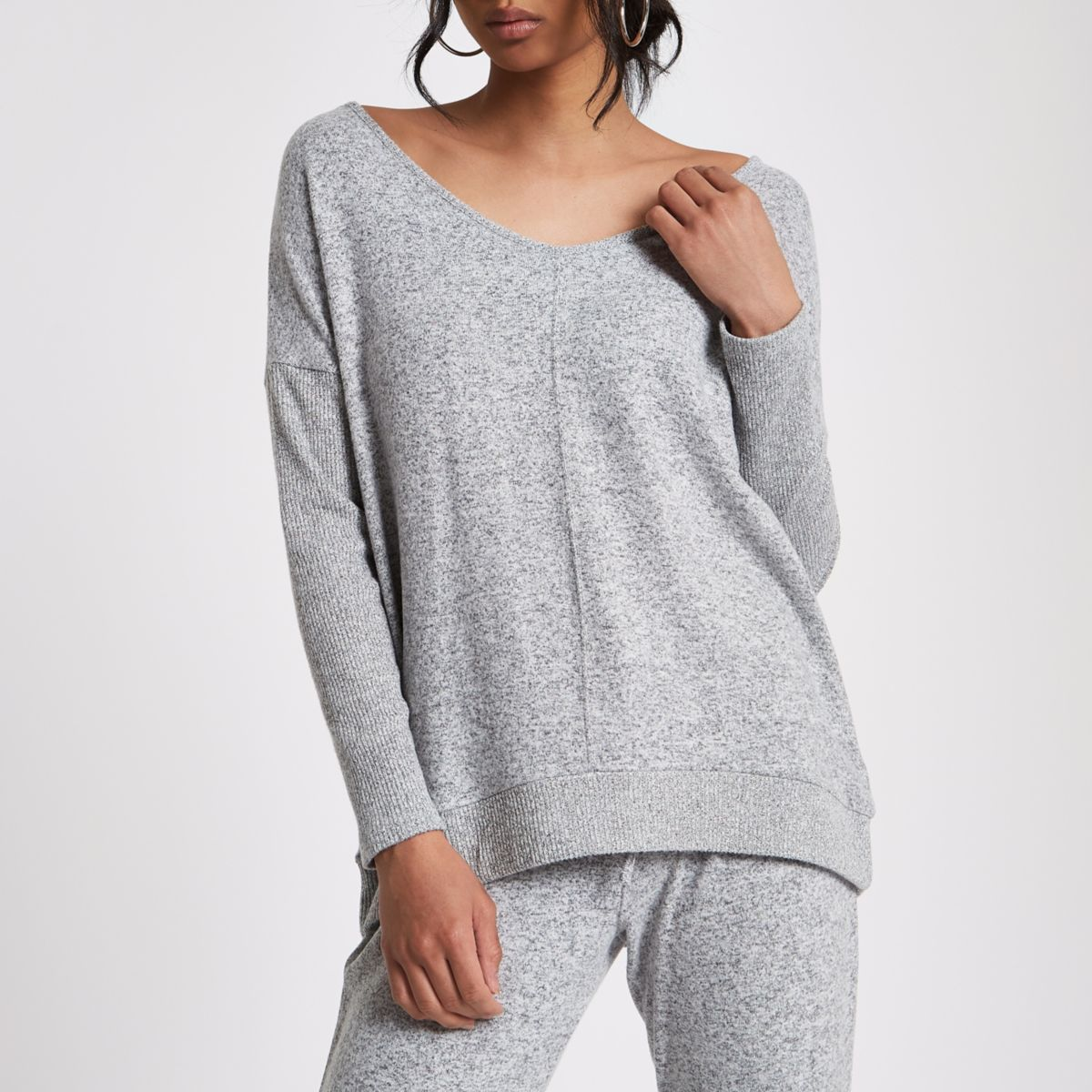 Grey V neck loose fit sweater
