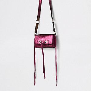 Roze leren mini-tas met knoop voor