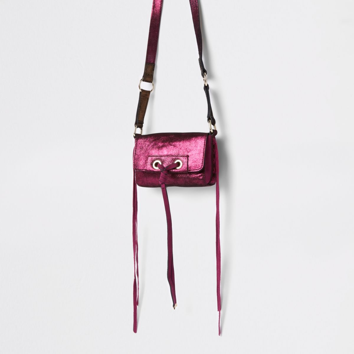 Pink leather knot front mini bag
