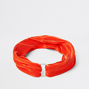 Orange pleated diamante pave circle headband