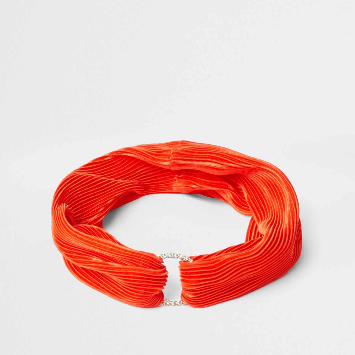 Orange pleated rhinestone pave circle headband