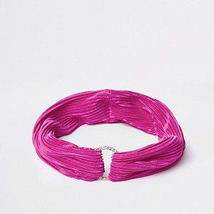 Bandeau rose plissé avec cercle pavé de strass