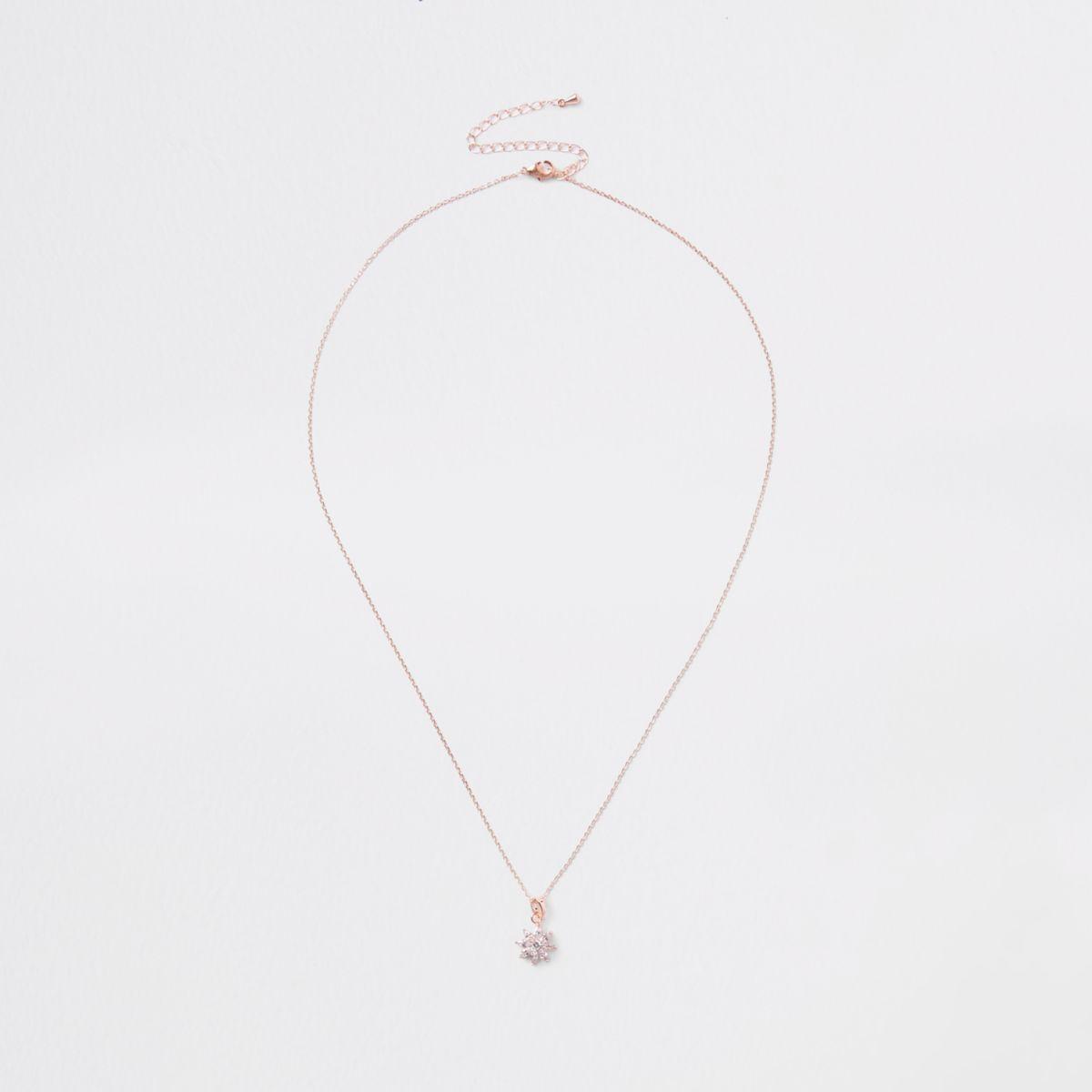 Rose gold floral diamante necklace