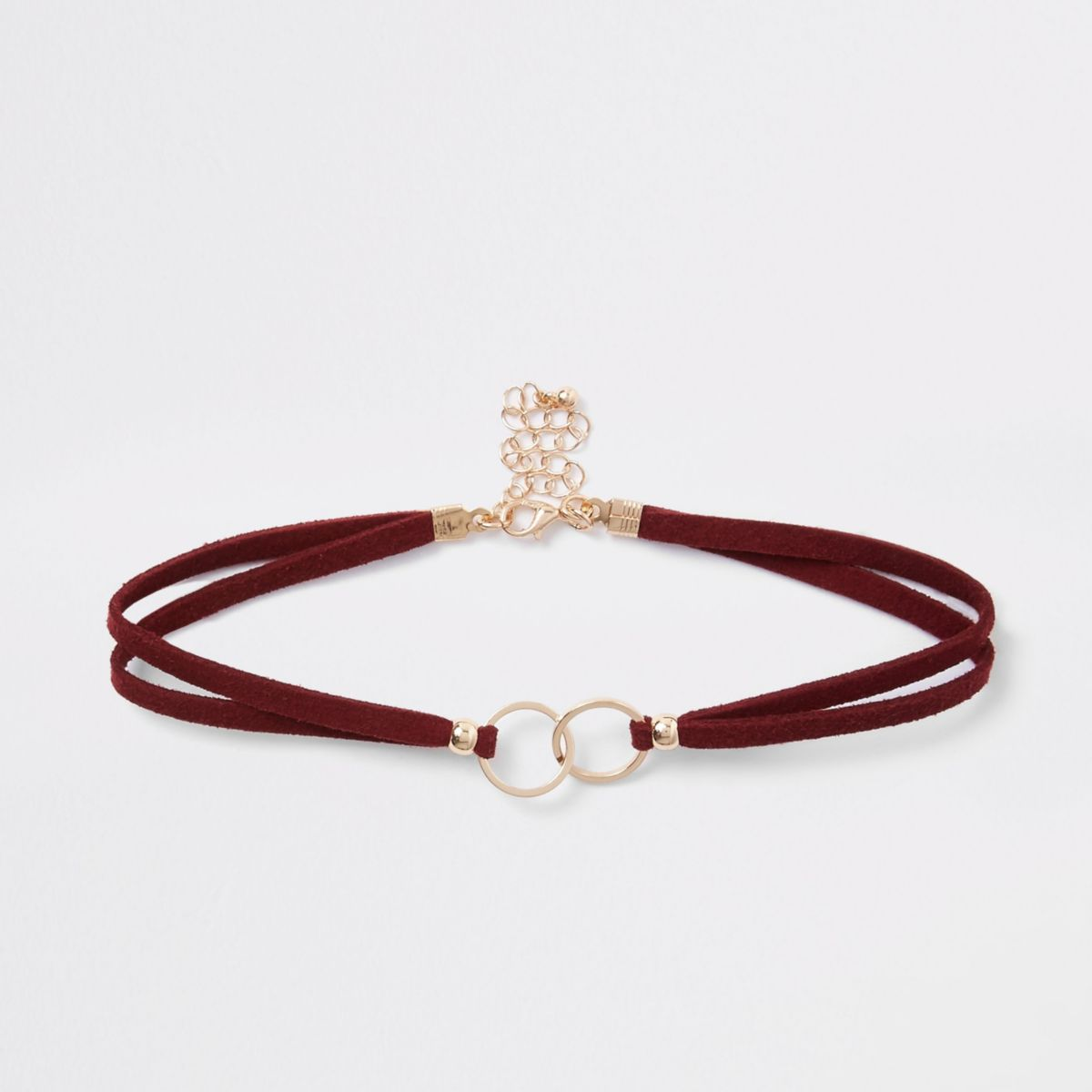 Dark red interlink circle choker